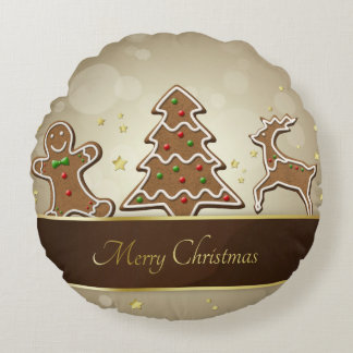 Gingerbread Cookies - Christmas Pillow Round Pillow