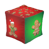 Gingerbread Cookies Cube Pouf