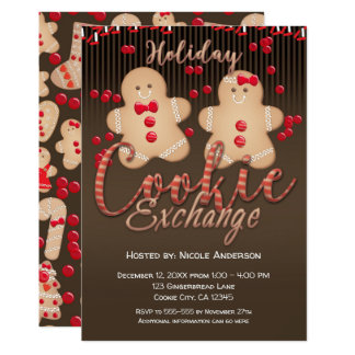 Gingerbread Cookies Holiday Cookie Exchange Party Card