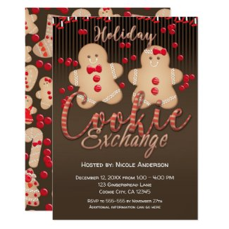 Gingerbread Cookies Holiday Cookie Exchange Party Invitation