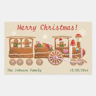 Gingerbread Cookies' Merry Christmas Train Cartoon Rectangular Sticker