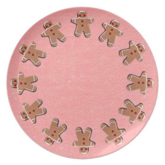 Gingerbread Cookies Red Melamine Plate