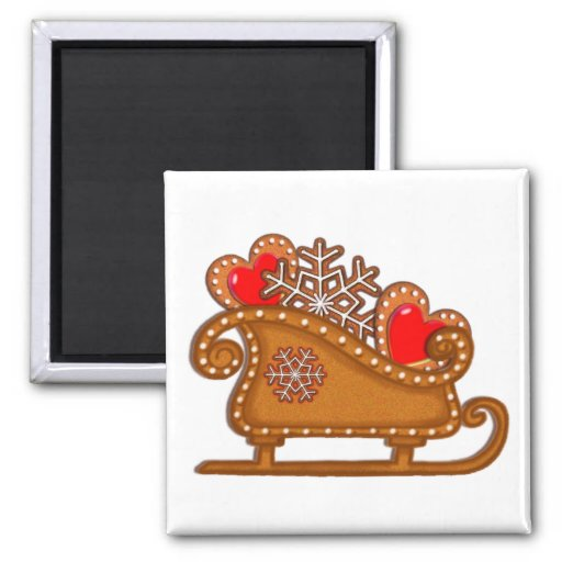 GINGERBREAD COOKIES & SLEIGH by SHARON SHARPE 2 Inch Square Magnet