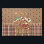 """Gingerbread Country Christmas Placemat<br><div class=""""desc"""">Cute gingerbread cookie couple  with gingerbread Merry Christmas Banner. Background has sweet little red hearts pattern with matching lower plaid in burgundy red,  white and green for a delightful Country look. Cookie heart border accent.</div>"""