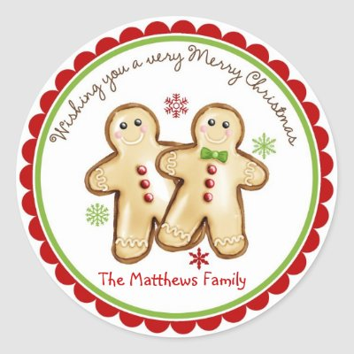 Gingerbread Couple Christmas Holiday Stickers