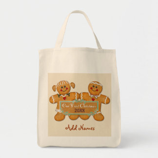 Gingerbread Couple First Christmas Canvas Bags