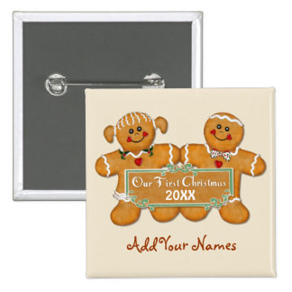 Gingerbread Couple First Christmas Pinback Button