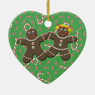 Gingerbread Couple Heart Christmas Tree Ornament