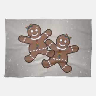Gingerbread Couple Lesbian Pride Hand Towels