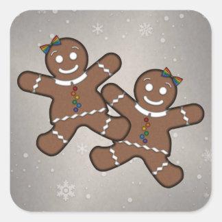 Gingerbread Couple Lesbian Pride Square Sticker