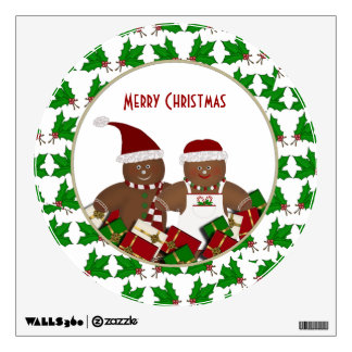 Gingerbread Couple: Merry Christmas Wall Decal