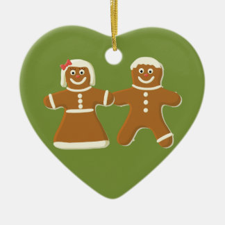 Gingerbread Couple on Green Heart Holiday Ornament