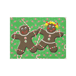 Gingerbread Couple With Christmas Candy Canvas Art