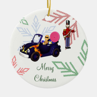 Gingerbread Cruising Double-Sided Ceramic Round Christmas Ornament