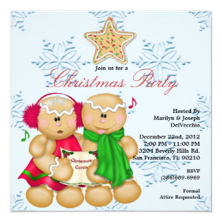 Gingerbread CUTE Christmas Party Holiday Invite