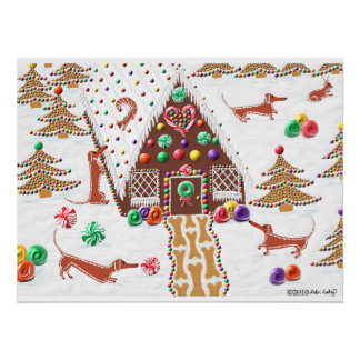 Gingerbread Dachshunds Poster