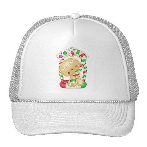 Gingerbread Doll Peppermint Pixel Art Trucker Hat