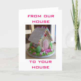 GINGERBREAD EASTER HOUSE GREETINGS FROM US HOLIDAY CARD