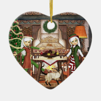 Gingerbread Elf Girls Art Ornament