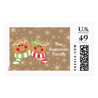 Gingerbread Faces With Snowflakes Poatage Stamp