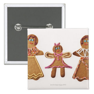 Gingerbread family. Against white background. Button