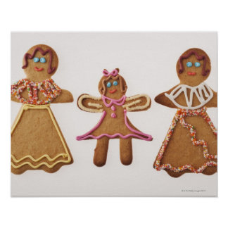 Gingerbread family. Against white background. Poster
