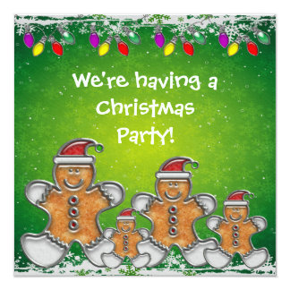 Gingerbread Family & Christmas Lights Party Invite