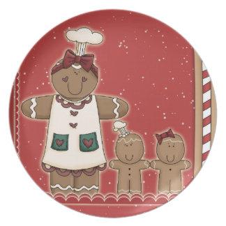 Gingerbread family dinner plate