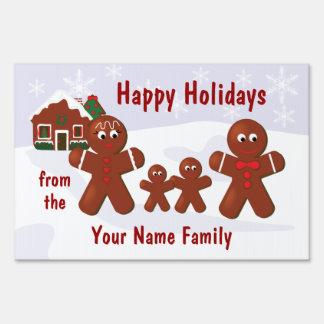 Gingerbread Family Four Christmas Custom Yard Sign