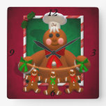 Gingerbread Family: Funny Baker Square Wallclock