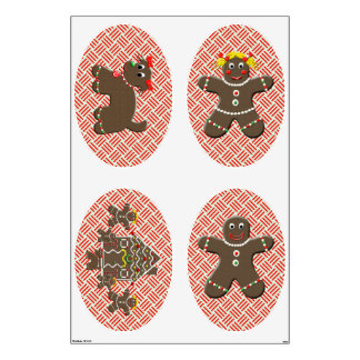 Gingerbread Family Large Christmas Wall Decals