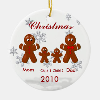Gingerbread Family of Four Christmas Ornament