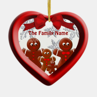 Gingerbread Family of Four Snow Heart Ornament