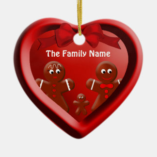 Gingerbread Family of Three Heart Ornament