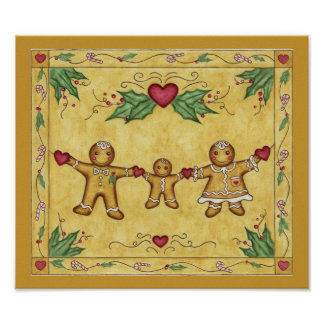 Gingerbread Family Print Poster