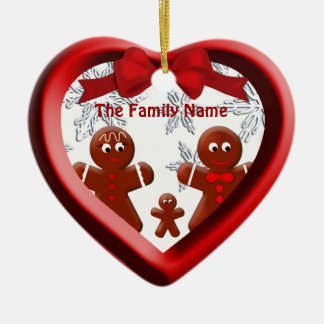 Gingerbread Family Three Heart Snowflake Ornament