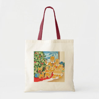 Gingerbread Family With Their Christmas Tree Budget Tote Bag