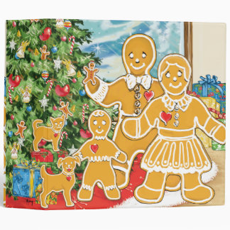 Gingerbread Family With Their Christmas Tree Vinyl Binder
