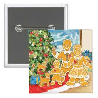Gingerbread Family With Their Christmas Tree 2 Inch Square Button