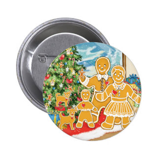Gingerbread Family With Their Christmas Tree 2 Inch Round Button