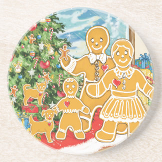 Gingerbread Family With Their Christmas Tree Drink Coaster