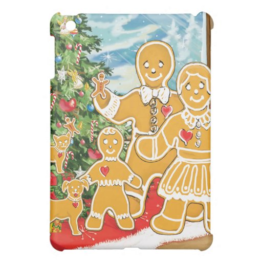 Gingerbread Family With Their Christmas Tree Cover For The iPad Mini