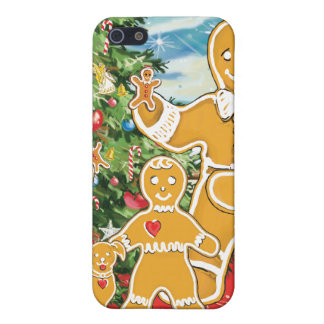 Gingerbread Family With Their Christmas Tree iPhone 5 Covers