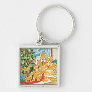 Gingerbread Family With Their Christmas Tree Silver-Colored Square Keychain