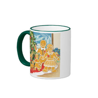 Gingerbread Family With Their Christmas Tree Coffee Mugs