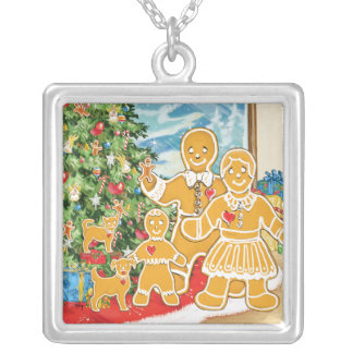 Gingerbread Family With Their Christmas Tree Square Pendant Necklace