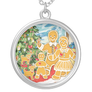 Gingerbread Family With Their Christmas Tree Round Pendant Necklace