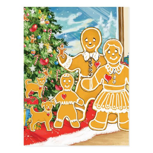 Gingerbread Family With Their Christmas Tree Postcard
