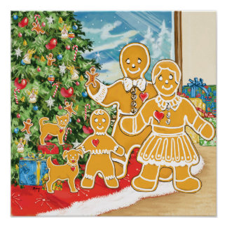 Gingerbread Family With Their Christmas Tree Posters