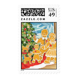 Gingerbread Family With Their Christmas Tree Stamp